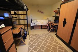 Single Lofted Bed In An Ou Dorm Probably What My Room S