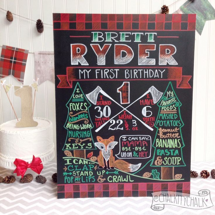 Lumberjack Birthday Chalkboard- woodland first birthday chalkboard, plaid 1st birthday chalkboard woodland party lumberjack bash owl fox - pinned by pin4etsy.com