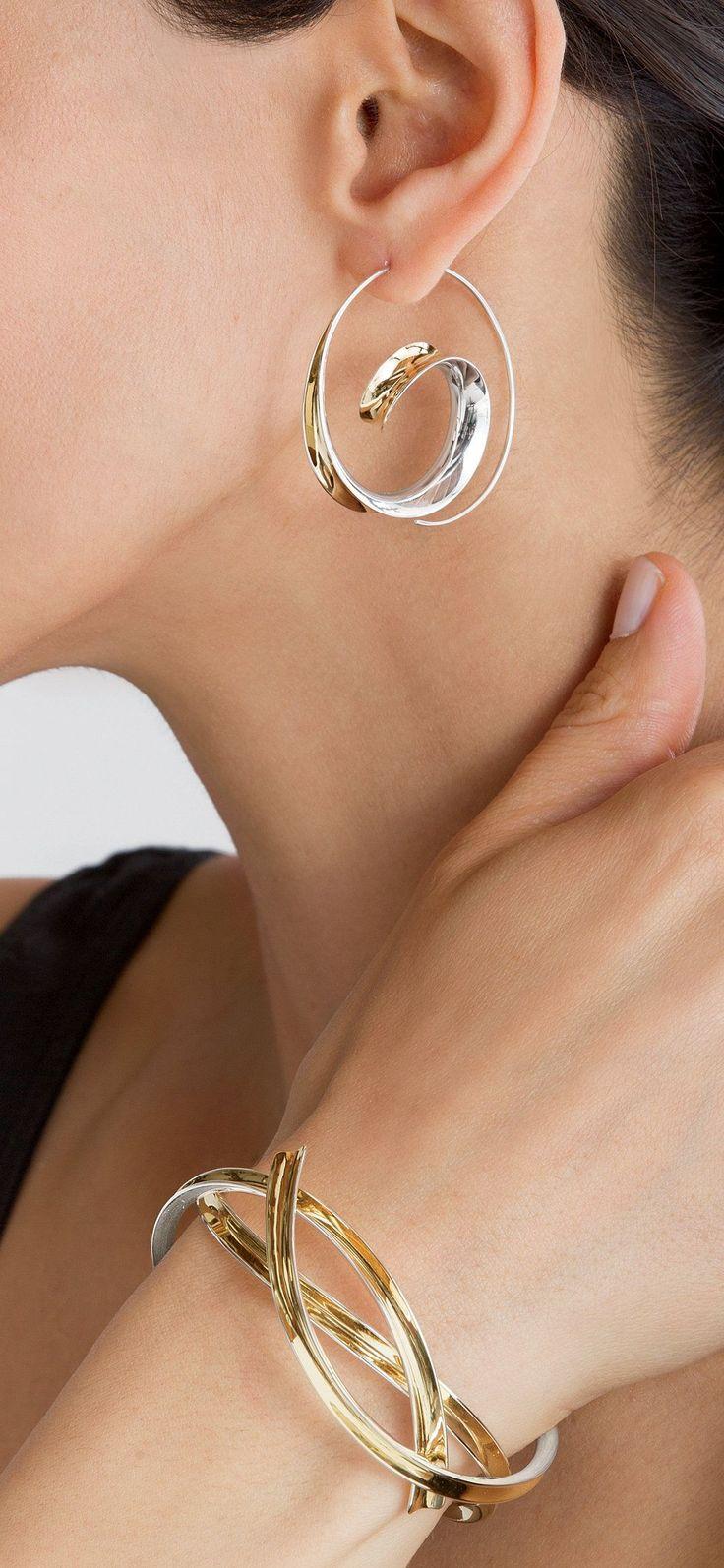 Earrings & Cuff | Nancy Linkin.  Sterling silver and 18k gold bimetal