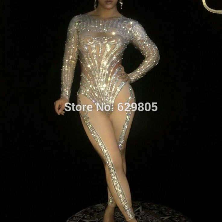 Sparking Crystals Jumpsuit Stage Wear Costume Bling Rompers Women's Outfit Silver Bodysuit Birthday Celebrate Clothing Bosdysuit-in Chinese Folk Dance from Novelty & Special Use on Aliexpress.com | Alibaba Group