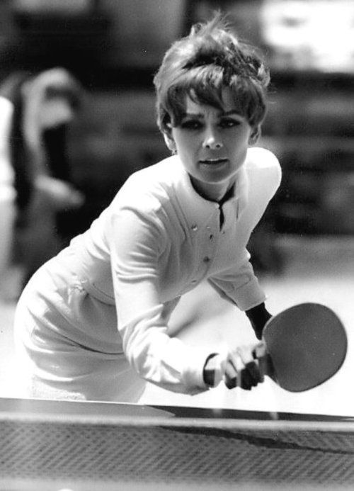 Audrey Hepburn practices for 'Two For the Road', 1967.  She loved table tennis and was very good at it.