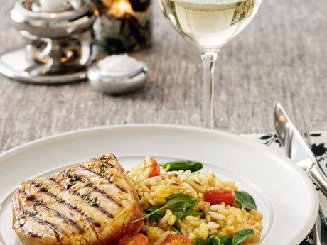 Halstrad tonfisk med cajunglaze och spenat- och tomatrisotto