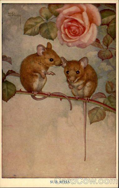 """""""Two Mice in Rose Bush"""" by Noel Hopking"""