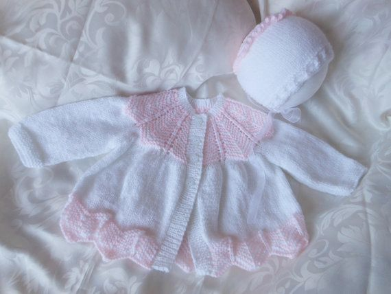 Baby girls coming home outfit hand knitted by Justbabydelights