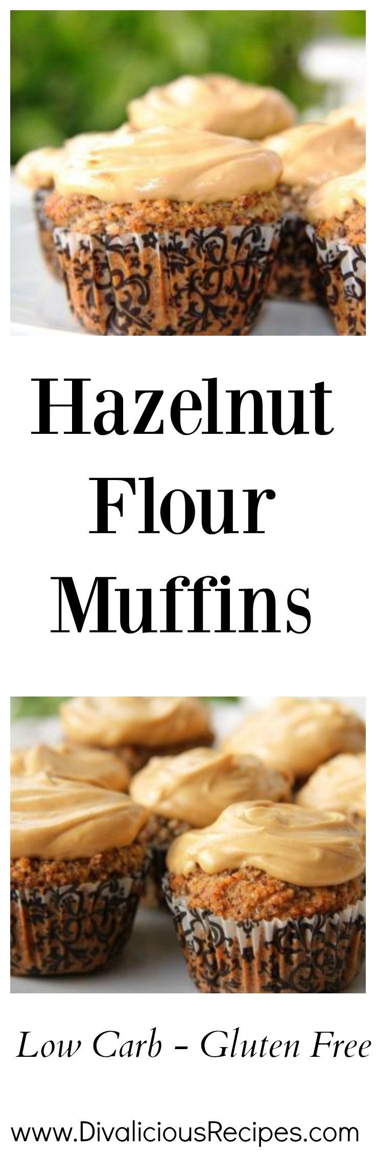 Hazelnut flour muffins that are topped with a delicious coffee cream cheese topping. The flavour combination of hazelnut and coffee is divine.  Recipe - http://divaliciousrecipes.com/2015/07/16/hazelnut-flour-muffins-coffee-cream-cheese-topping/