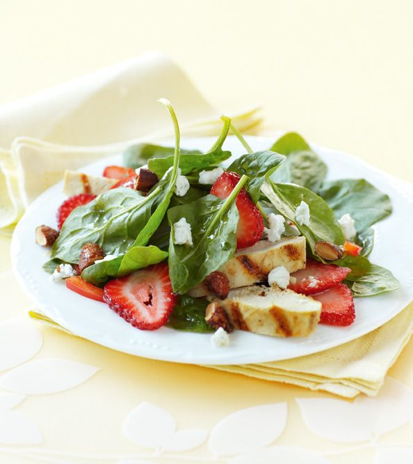 Rose Reisman: Spinach Salad with Cinnamon Almonds, Strawberries and Goat Cheese