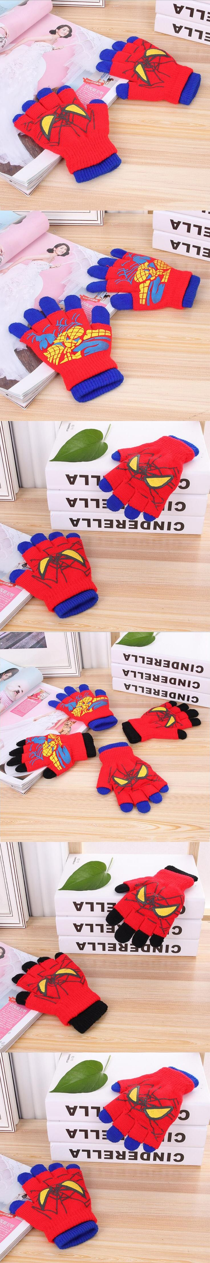 2017 Autumn And Winter Kids Thicken Thermal Knitted Gloves Boy And Girls Cartoon Spiderman Gloves