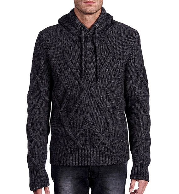 MADE TO ORDER Sweater with hood men hand knitted sweater cardigan pullover men clothing handmade