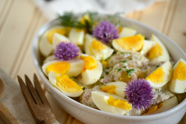 This Scandinavian Potato and Egg Salad would be perfect for a picnic. Pick it up in a basket with some smoked salmon, a thermos of coffee, and a few slices of Norwegian cream cake and you're set! Get the recipe at Outside Oslo.
