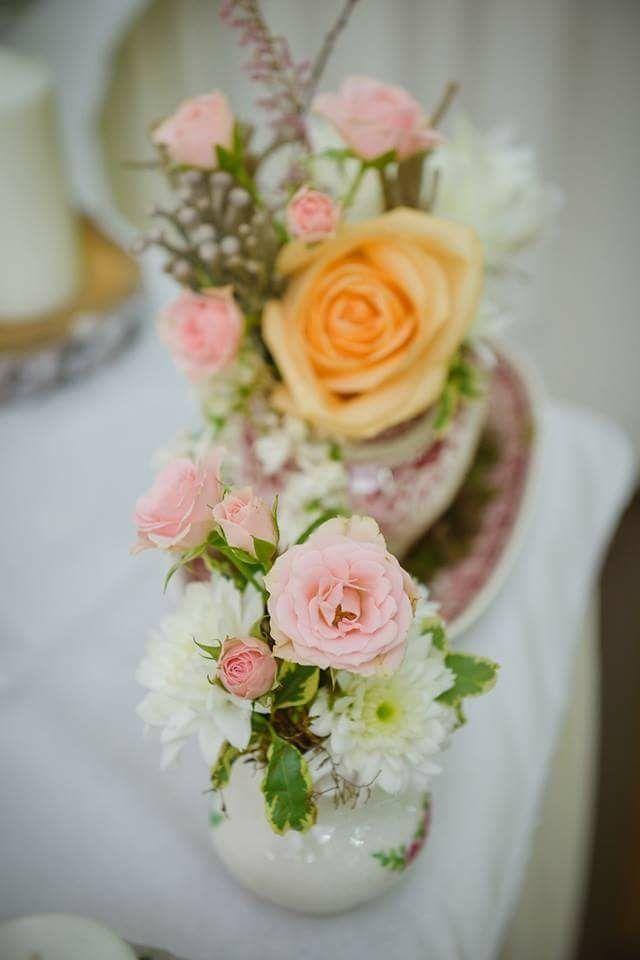 Shabby vintage wedding; teacup flowers centerpiece by Atelier Floristic Aleksandra