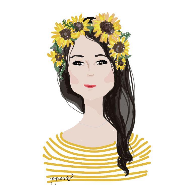 Flower girl. Digital painting