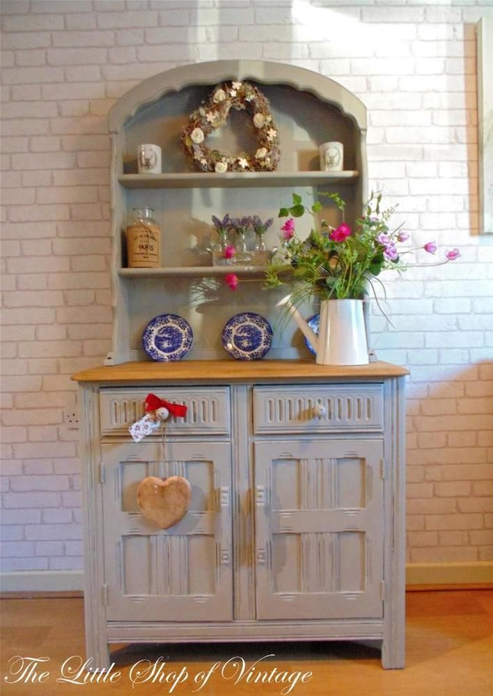 Small Priory Dutch Dresser Cupboard Cabinet Drawers Shabby Chic Annie Sloan Paris Grey