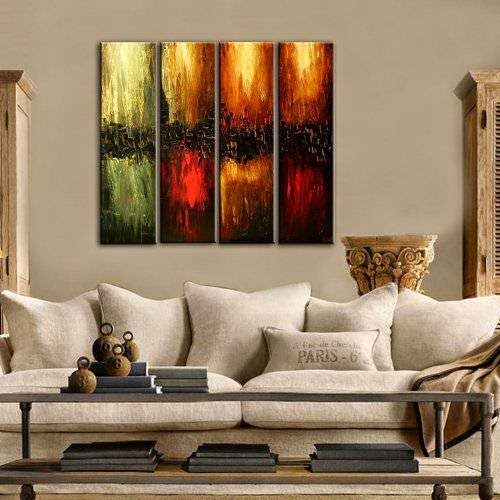 Santin Art-Hand Made Oil Painting The Four Elements Modern Canvas Art Wall Decor Abstract Oil Painting Wall Art Decorations on Canvas Home Decor - Store Online for Your Live and Style