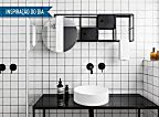 Inspiração do dia: banheiro preto e branco com espelheira original   Casa