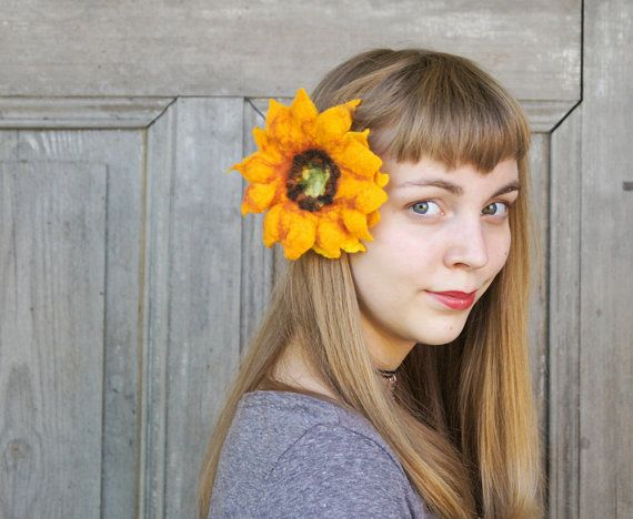 Felted sunflower hair pin or brooch two in one hair by filcAlki