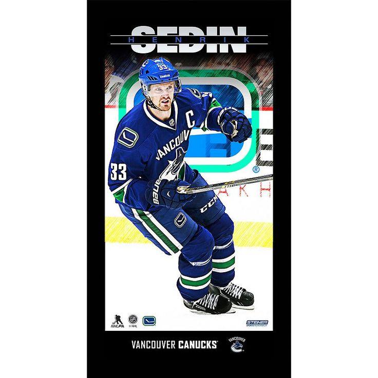 "Steiner Sports Vancouver Canucks Henrik Sedin 10"" x 20"" Player Profile Wall Art, Multicolor"