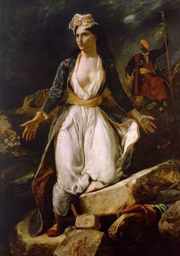 Greece on the Ruins of Missolonghi, 1826, Eugene Delacroix http://my-ear-trumpet.tumblr.com/page/1796