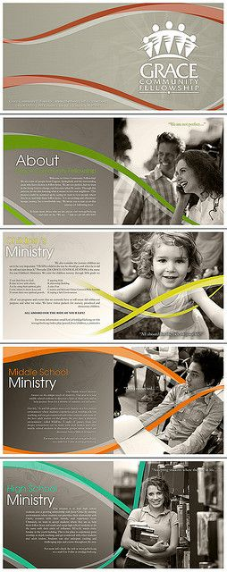 곡선 디자인Grace Community Fellowship brochures (continuous graphic element) - movement!