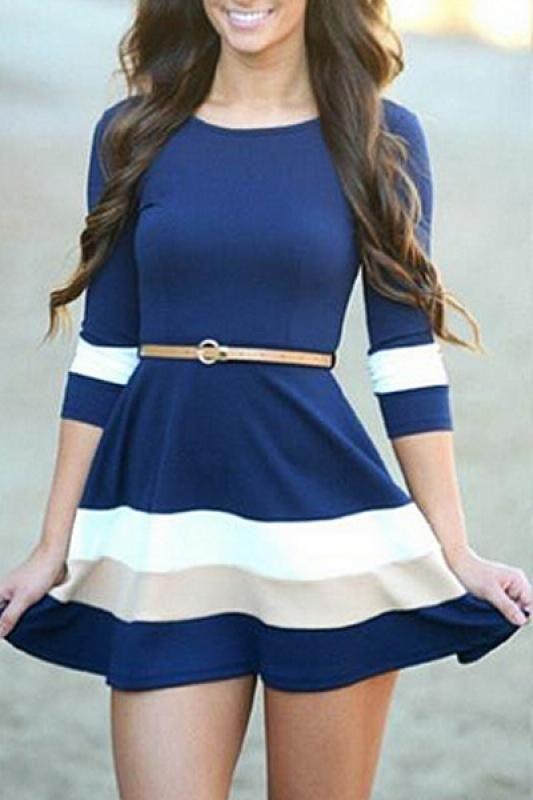 Contrast Color V-back Three Quarter Sleeve Dress