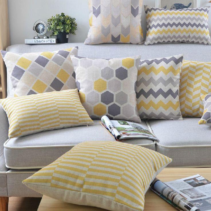 """18 """" quadrado geométrico simples de algodão de linho capa de almofada Ikea sofá cadeira carro casa decorativo jogar travesseiro fronha almofadas alishoppbrasil"""