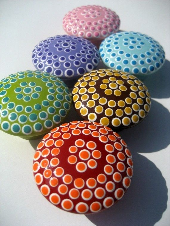 dotted drawer knobs door pulls spots set of 8 by sweetmixcreations 5600 - Decorative Drawer Knobs