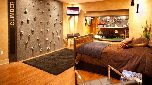 Beautiful Bedrooms I want a rock climbing wall in my bedroom too