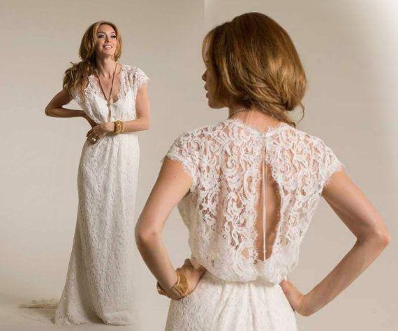 V Neck Lace Wedding Dress Boho Wedding Dress von BailynnBouNique