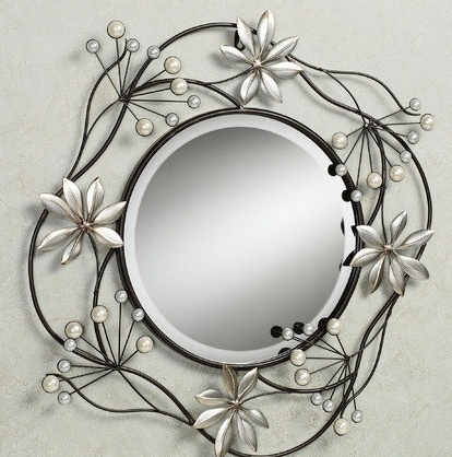 Cool Funky Metal Wall Mirror With Branches Leaves Flowers Pearl Buds