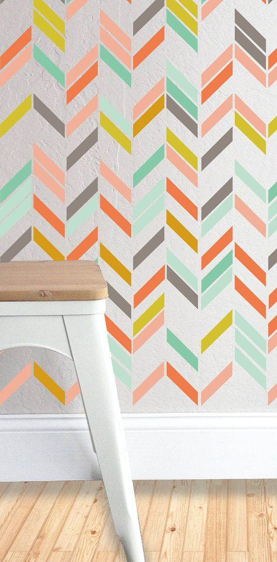 90 1w x 6l. Individual Herringbone Strips These can be placed in any pattern or layout. Fully removable and reusable wall decals that will brighten