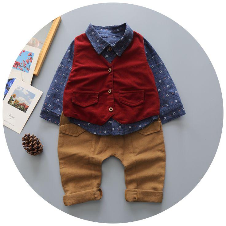 Англия Стиль Мода Мальчик Одежды Наборы Джентльмен Малыша Мальчиков Костюм Мальчика Комплект Одежды Младенца Мальчик Костюмы