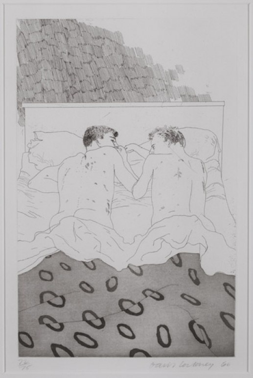 'TWO BOYS AGED 23 OR 24' FROM ILLUSTRATIONS FOR FOURTEEN POEMS FROM C.P. CAVAFY 1966-67 hockney