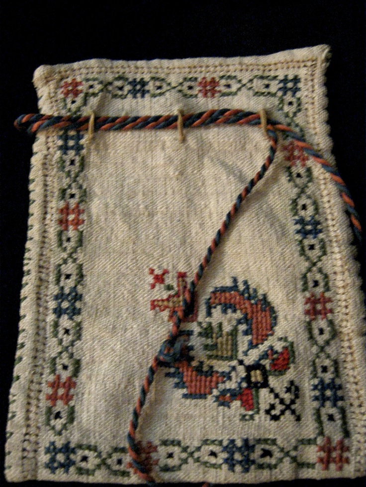1860s Antique Reticule - Hand-Embroidered, Folk Art