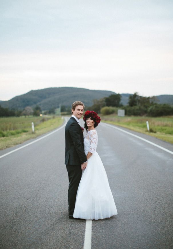 CLAIRE + BERNI // #realwedding #NSW #house #flowers #romantic #moody #red #green #enchanted #glamour #rustic