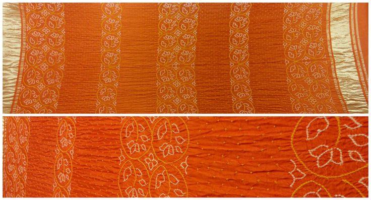 "OPULENT ORANGE Bandhani Dupatta. A rich bandhej art dupatta from the land of pure bandhani art form ""Jamnagar"" Beautiful Floral Motifs made from yellow and white bandhani dots which compliments the bright orange color. Beautiful lagdi patto (Broad Zari Border) at ends enhances the bandhej art on orange color. Made on heavy gajji silk material is a sure shot to make you look fab.  For more details/collaboration call/whatsapp-9377399299 #sankalpthebandhejshoppe #bandhanidupatta #dupatta"