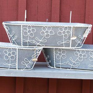 Balkonglåda i zink med vita blommor,
