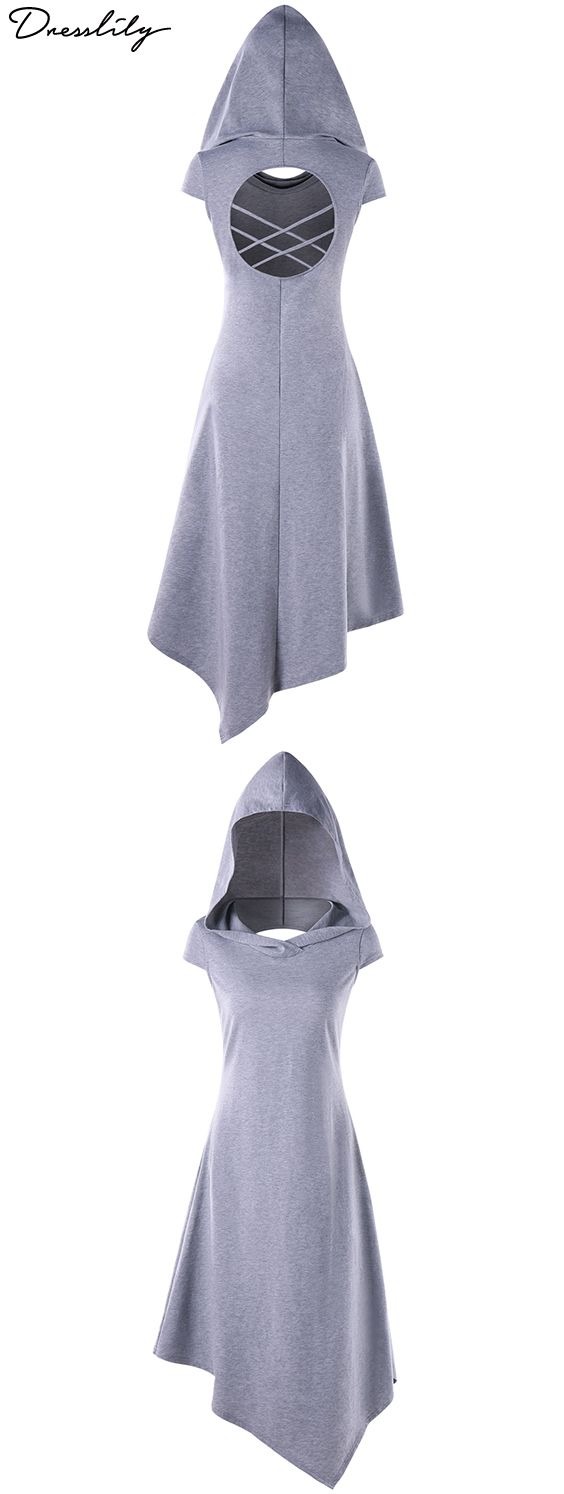 The trendy dress features a handkerchief silhouette with back cut out detail. Incredibly soft and warm materialwith a little stretch built in for even more comfort! It also features hood, criss cross and short sleeves for easy fit. Juse pair it with our own heels to complete this essential look!#dress