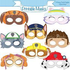 Les enfants de pattes caractère imprimable Partie masques, masques imprimables, masques de chien, dessin animé masques, masques de héros, chiens, dalmate masque, masque de chiot, masque