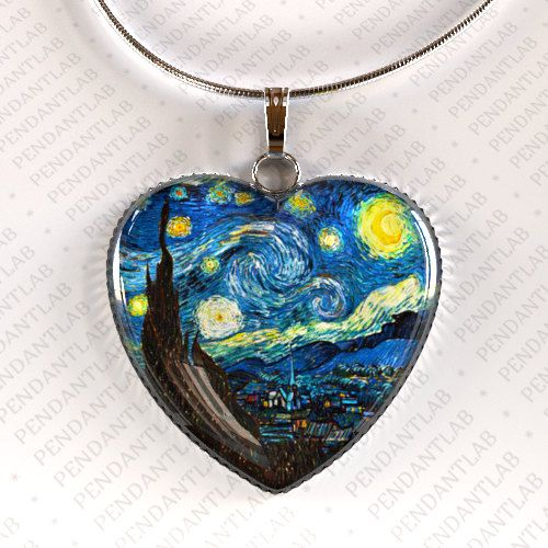 Pretty innovation (another want of mine): Van Gogh Starry Night Pendant Starry Night Necklace by PendantLab, $14.95