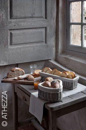 Corbeille à pain en osier et coton Cœur Athezza