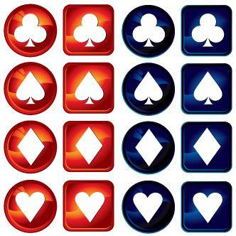 Set con fichas de póquer cuadradas y redondas: pica, corazón, diamante y trébol en rojo y azul.