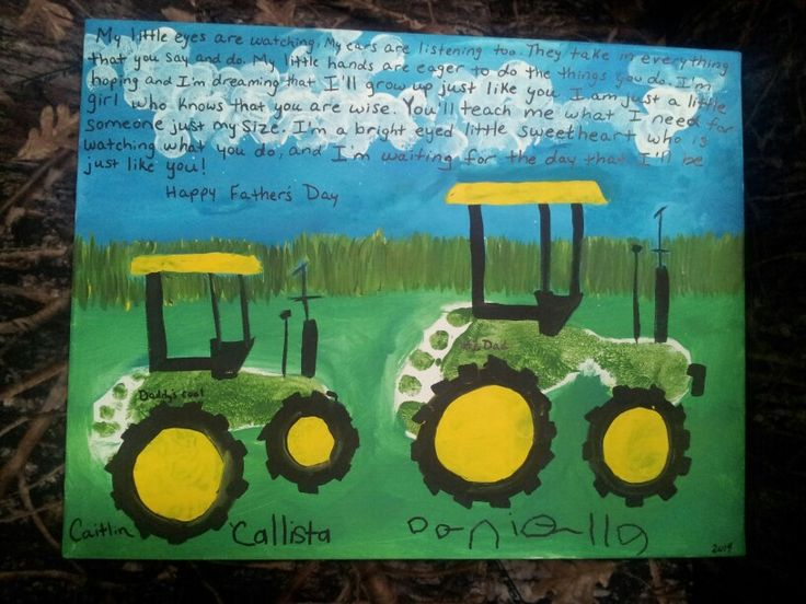 Fathers day paint canvas craft kid poem tractor john deere footprint