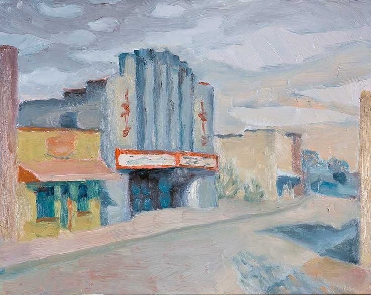 Isis Theater Afternoon Light contemporary landscape cityscape oil painting