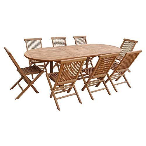 Salon de Jardin Lombok – Table Extensible Ovale en Teck – 8 ...