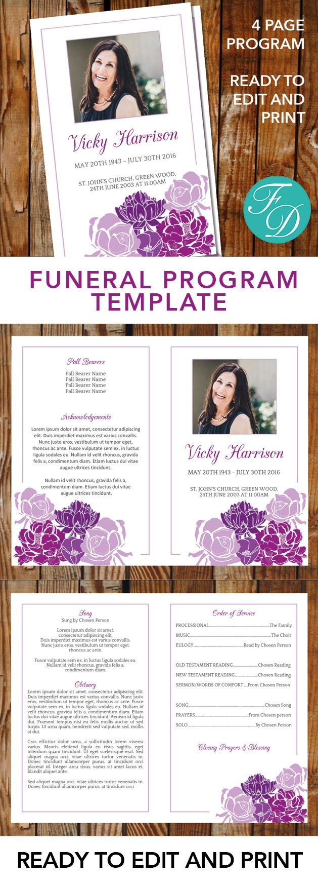 Purple Flowers Printable Funeral program ready to edit & print Simply purchase your funeral templates, download, edit with Microsoft Word and print. #obituarytemplate #memorialprogram #funeralprograms #funeraltemplate #printableprogram #celebrationoflife