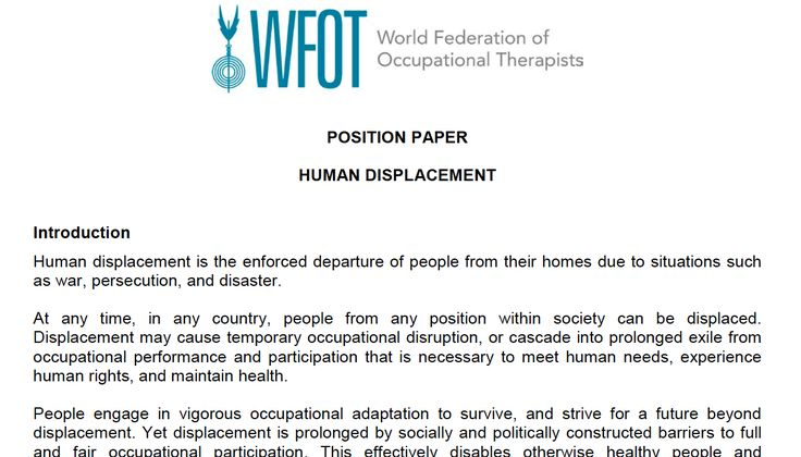 WFOT Position Paper on Human Displacement