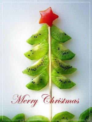 Edible Christmas Tree: Kiwi branches & Bell Pepper Star?