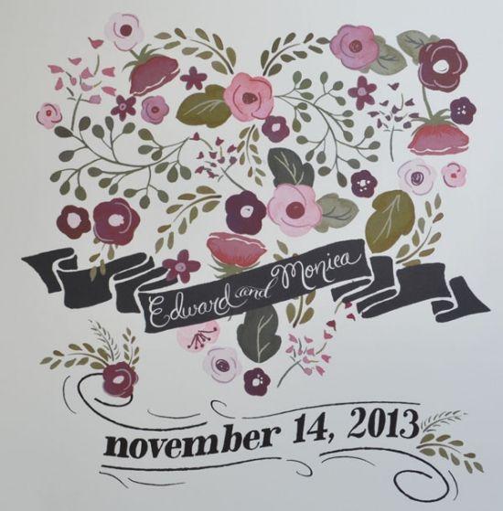 Custom Heart Wedding Print & Free Cake Topper