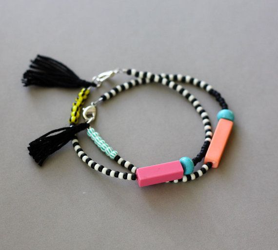 Bracelet with Tassel  Black and White Bracelet  by feltlikepaper, $17.00