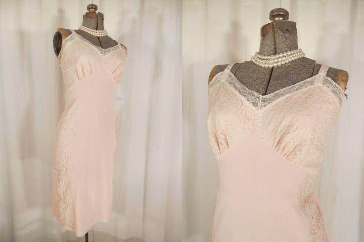 Vintage 1950s Slip - 50s Pink Nylon Full Lingerie Slip, 1950s Pin Up Lingerie by RockabillyRavenVtg on Etsy
