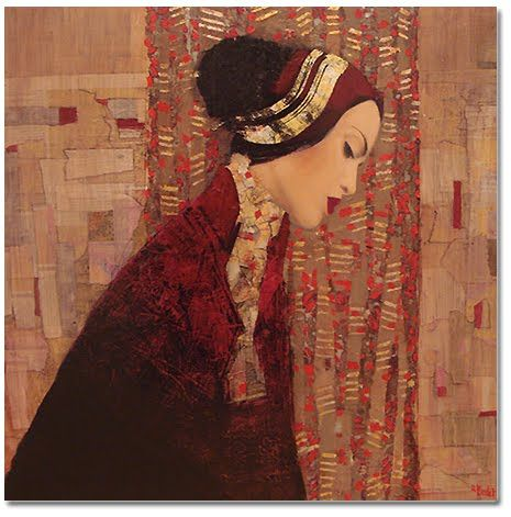 Hindart2: Paintings by Richard Burlet - modern artist, loving his Klimt like style with a spin...the color comp is amazing